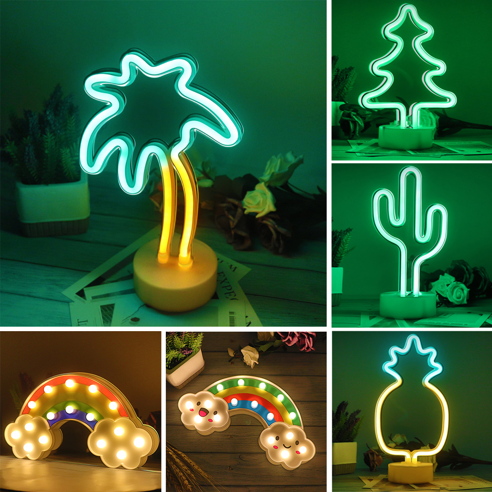 Cute LED Neon Light Sign Rainbow Christmas Tree Neon Lamp Gifts Birthday Wedding Party Home Decoration Desk Ornaments Night Lamp