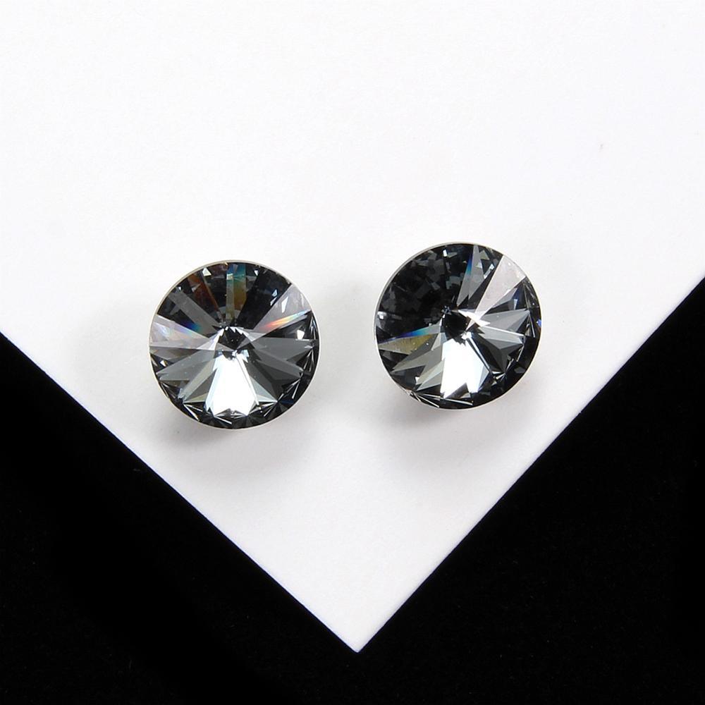 925 Sterling Silver Round Gray Crystal Stud Earrings for Women Girls Party Fine Jewelry Silver Stud Earrings