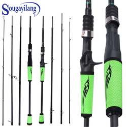 Sougayilang Lure Fishing Rod 2.1M 2.4M 4 Section M Power Carbon Fiber Spinning/Casting Bass Travel Rod 10-30g Fishing Tackle