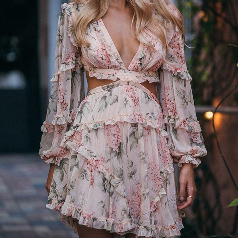 Paris Girl Summer Beach Mini Dress Woman Spaghetti Strap Cross Backless Sexy Deep V Print Bodycon Vestidos Fashion Short Dress