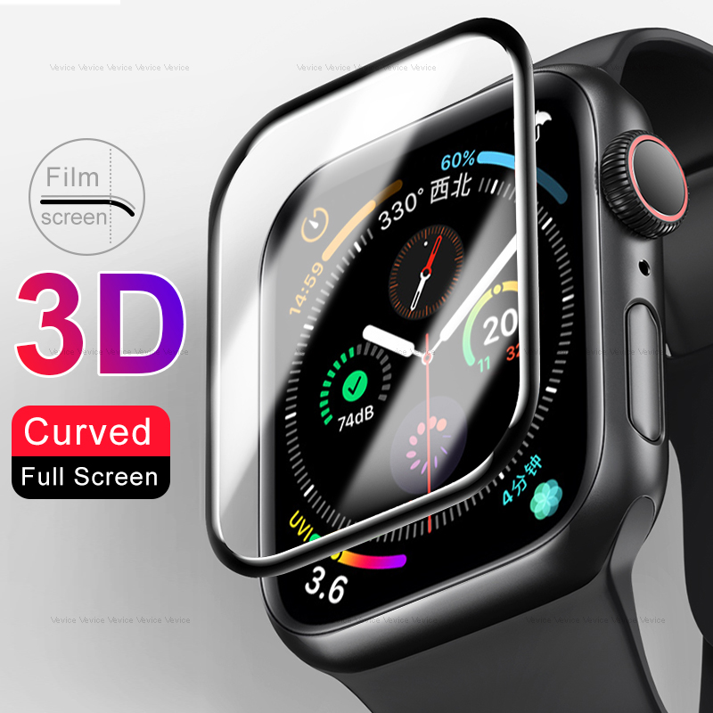 3D Full Curved Tempered Film Glass For iWatch 5 Series Screen Protector Smart Watch Accessories For Apple Watch 40MM 44MM Film image