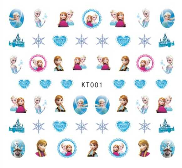 Newest 5sheet 15type Children Frozen Princess Nail Stickers Designs Gummed 3D Nail Art Stickers Decals Makep Art Decorations