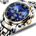 Часы Montre Homme мужские  роскошный бренд  LIGE  хронограф  мужские спортивные часы  водонепроницаемые  полностью стальные  кварцевые  мужские часы