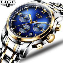 Montre Homme Watch Men Luxury Brand LIGE Chronograph Men Sport Watch Waterproof