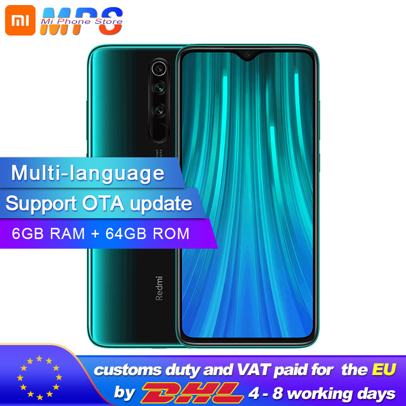 Global ROM Xiaomi Redmi Note 8 Pro 64GB 6GB Mobilephone MTK Helio G90T 4500mAh 64MP Quad Rear Camera  6.53'' 3D Display  Phone