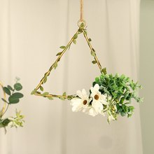 Faux Floral Hanging Wreath Geometric Design Metal Frame Artificial Flowers Garland Pendant For Wall Window Wedding Decoration(China)