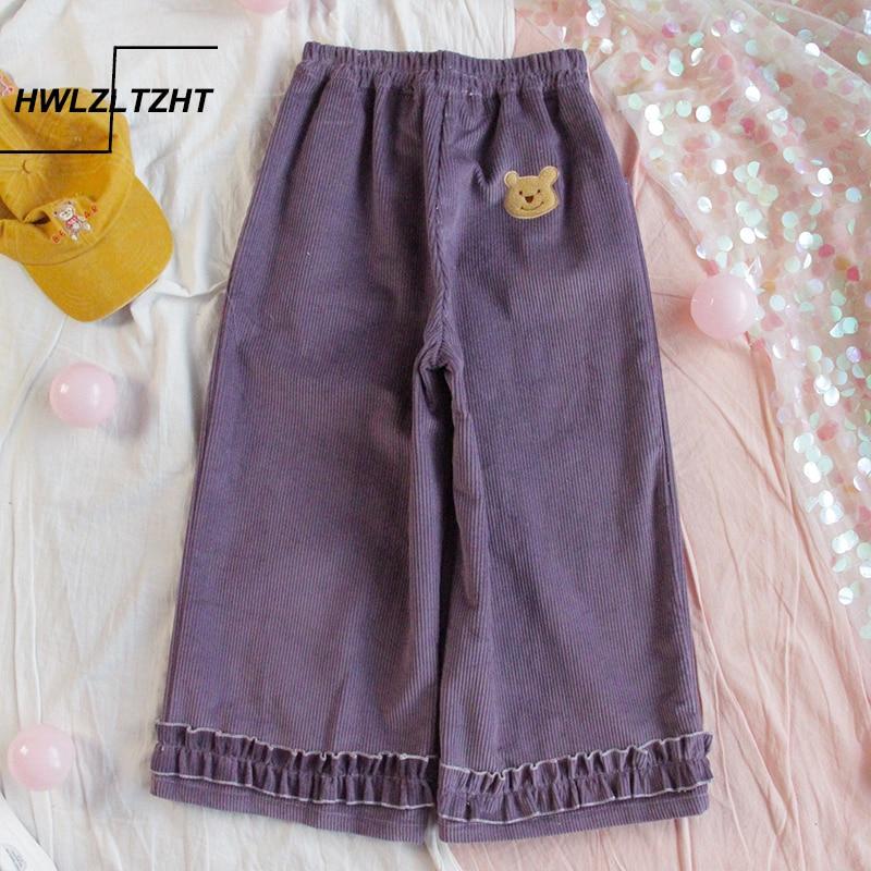 Japanese Fall Winter Women Lolita Style Pants Purple Khaki Corduroy Wide Leg Pants Preppy School Girl Cute Kawaii Ruffles Capris