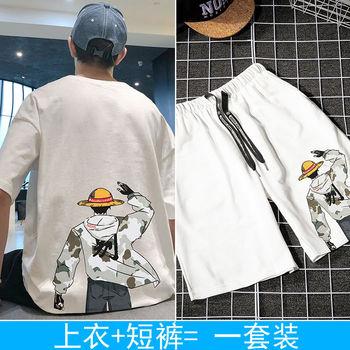 Letnia fala marki koreańscy studenci luźne ubrania garnitur z przystojną letnią sukienką Trend męska koszulka z krótkim rękawem tanie i dobre opinie Acacia Person O-neck Na co dzień Sznurek Shorts NONE Polyester fiber (polyester) COTTON PATTERN Drukuj Leisure Time 2019