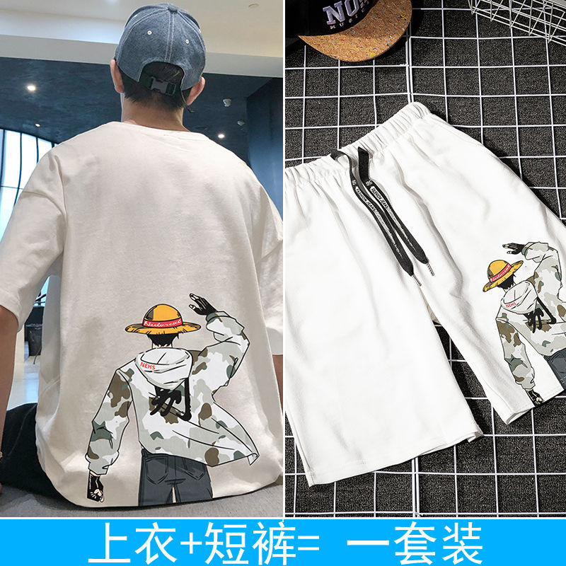 Summer Tide Brand Korean Students Loose Clothes Suit With Handsome Summer Dress Trend Men's Short-sleeved T-shirt(China)