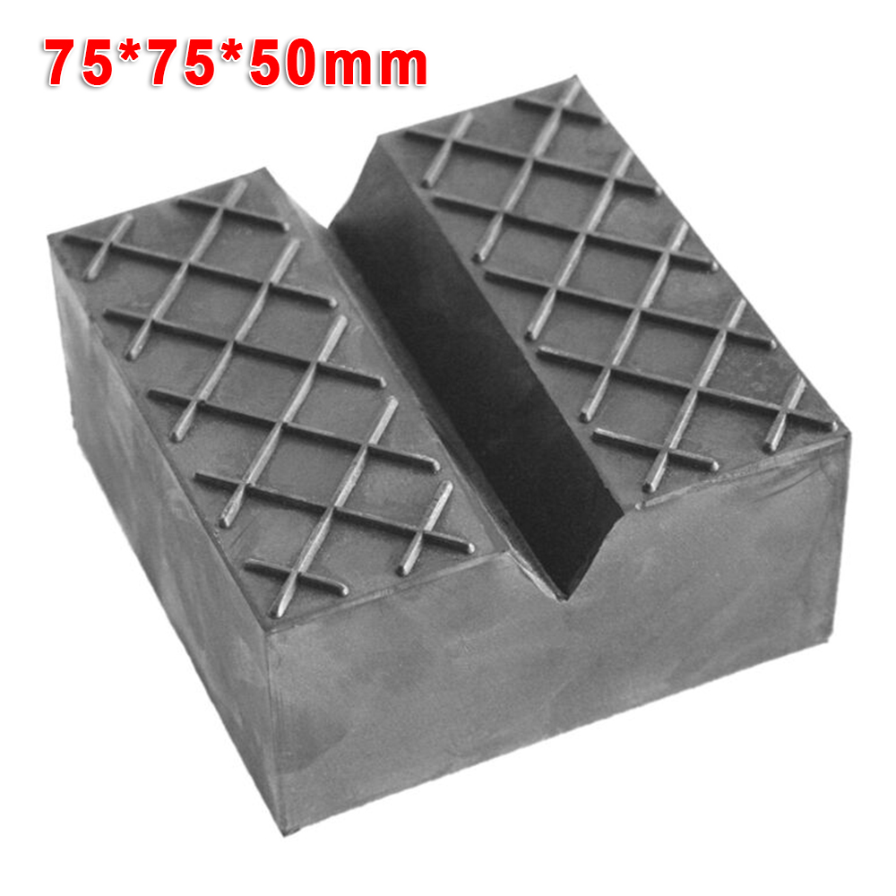 1 Pc Car Jack Pad Carriage Support Mat Lift Block 75*75*50mm High Quality Black V-Slot Rubber Mat Accessories