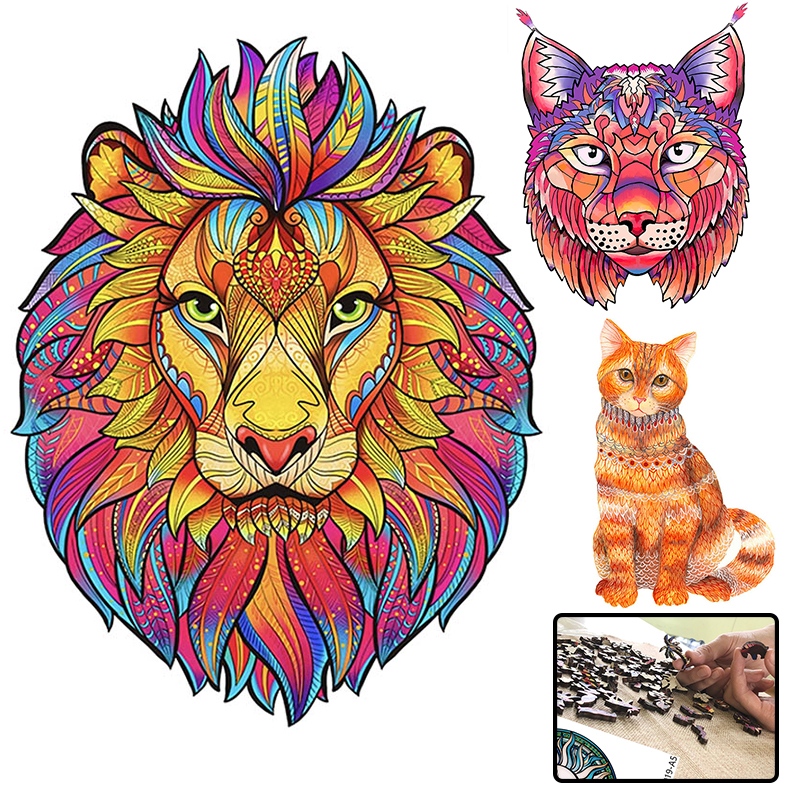 Puzzle Wood Toys Jigsaw Puzzle Games Animal Mysterious For Adults Kids Educational Gift Creative