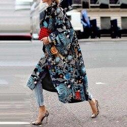 Модный Тренч с принтом звезды, женское длинное пальто, Осень-зима размера плюс с расклешенными рукавами, дизайнерское Бохо уличное повседне...