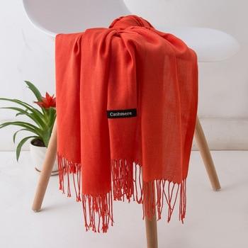 2020 winter scarves for women shawls warm wraps lady pashmina pure blanket cashmere scarf neck headband hijabs stoles foulard - discount item  40% OFF Scarves & Wraps