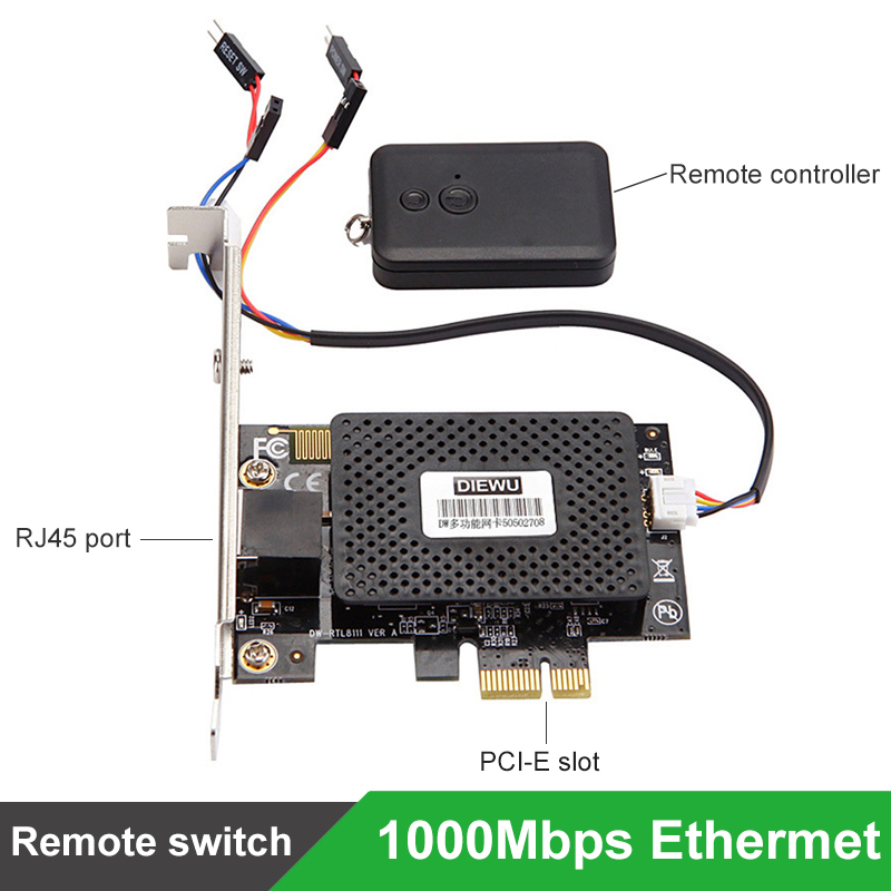 Multifunction 10/100/1000 Mbps PCI E PCI Express to RJ45 Gigabit Network Card with Remote Control to Turn On / Off Desktop PC-in Network Cards from Computer & Office