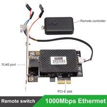 Multifunction 10/100/1000 mbps pci e pci express para rj45 gigabit placa de rede com controle remoto para ligar/desligar desktop pc