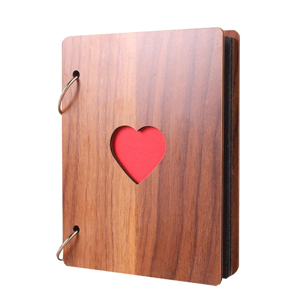 6inch Heart Pattern Wooden Photo Album Loose-leaf Baby Growth Memory Record Book
