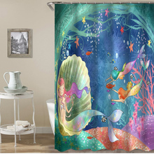 Cartoon mermaid polyester printing bathroom shower curtain bathroom partition curtain waterproof and mildew comes with hook