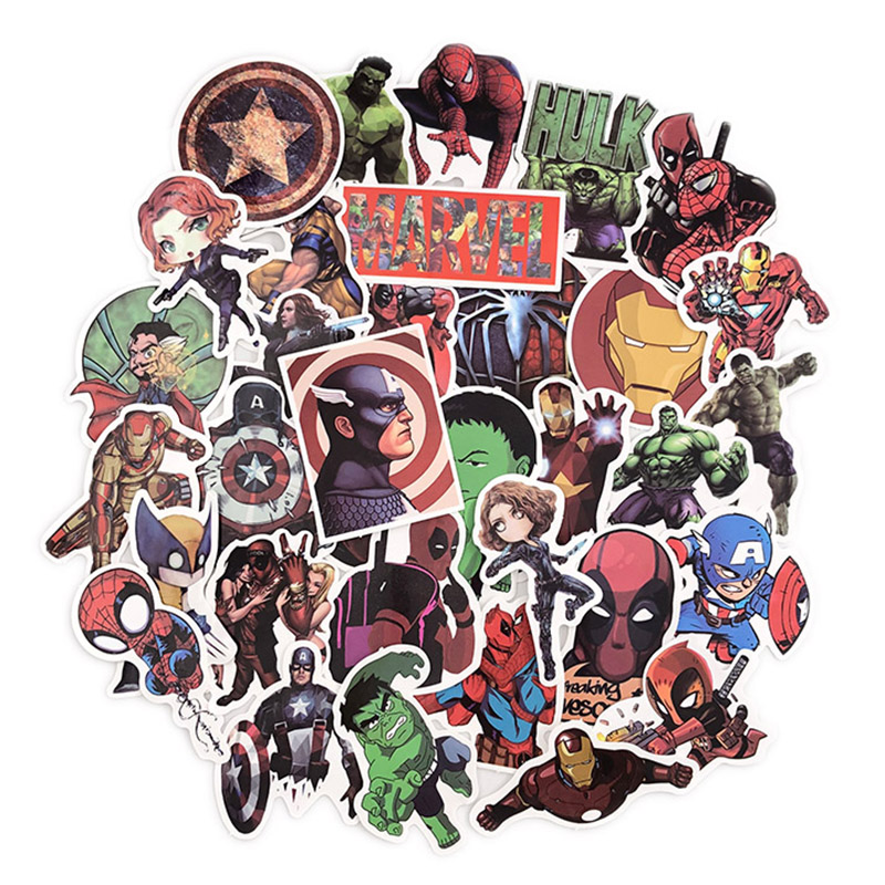 50Pcs Marvel The Avengers Cartoon Stickers Waterproof For Laptop Moto Skateboard Luggage Guitar Furnitur Sticker