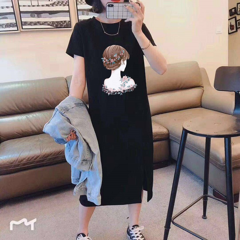 big size new summer dress 2020 fashion cover <font><b>belly</b></font> reduction age Korean wild over the knee t-<font><b>shirt</b></font> women short <font><b>sleeve</b></font> dress image
