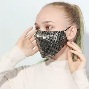 Scarf Women Maskes Protective-Face-Maks-Bandana Sequin Washable Dustproof Unisex