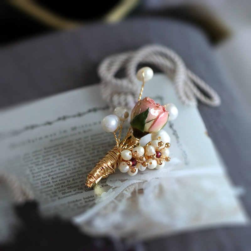 Sinzry Buatan Tangan Yang Unik Mutiara Alami Diawetkan Rose Bunga Trendi Vintage Bros Pin Fashion Perhiasan Aksesori untuk Wanita
