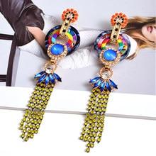 Oświadczenie kolorowe kryształy długie kolczyki wysokiej klasy Trend w modzie spadek kolczyki nowe akcesoria jubilerskie dla kobiet w sprzedaży hurtowej