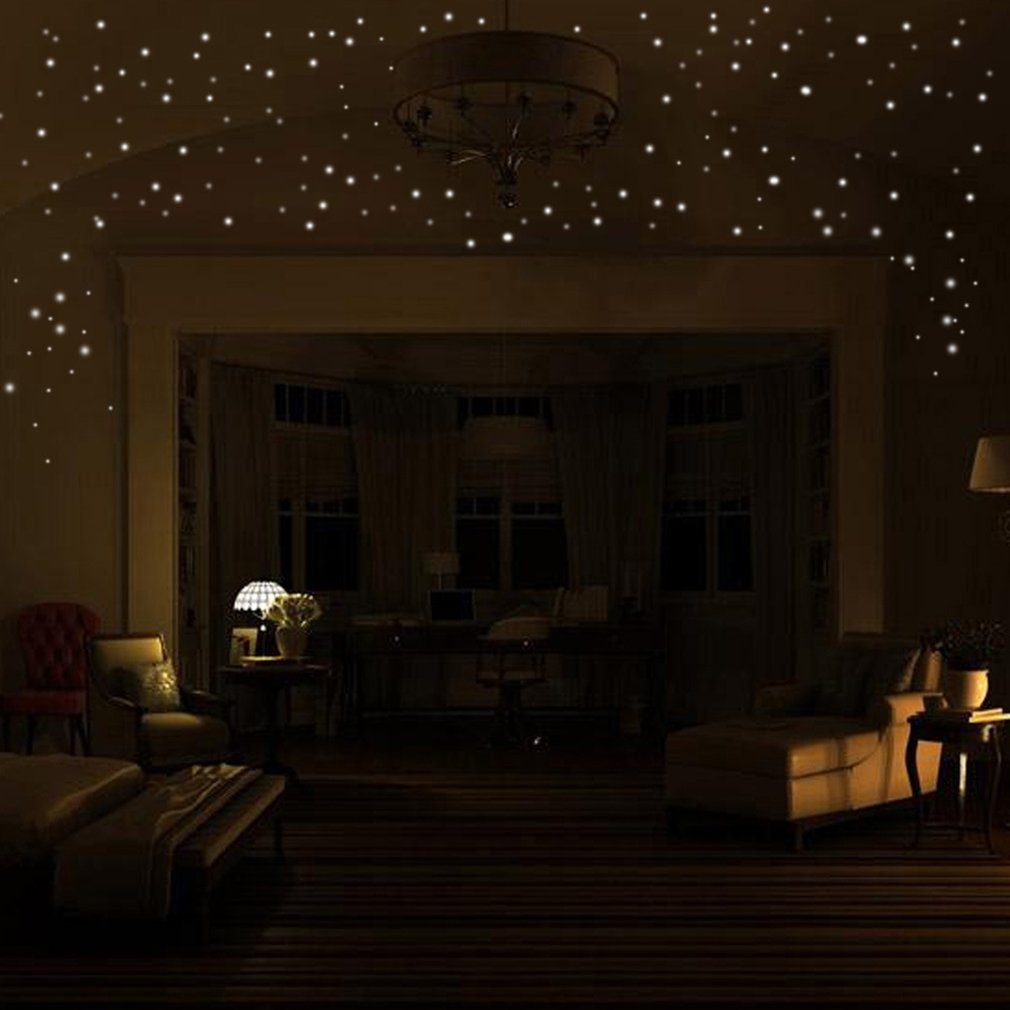 407pcs Glow In The Dark Star Round Dot Luminous Wall Stickers Kids Room Decor Wall Decals Stickers Removable Self-adhesive