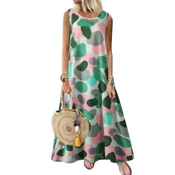 New Summer Woman M-5XL Dress Casual Summer Round Neck Sleeveless Printed Retro Ethnic Beach Long Dresses Party Club Beach Street image