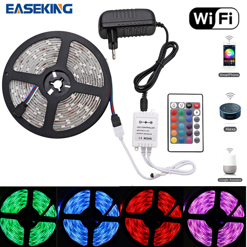 16.5ft Smart WiFi LED Strip Lights 5m RGB Light Strip with 150 Units 5050 LEDs Color Changing Tape Lights Compatible