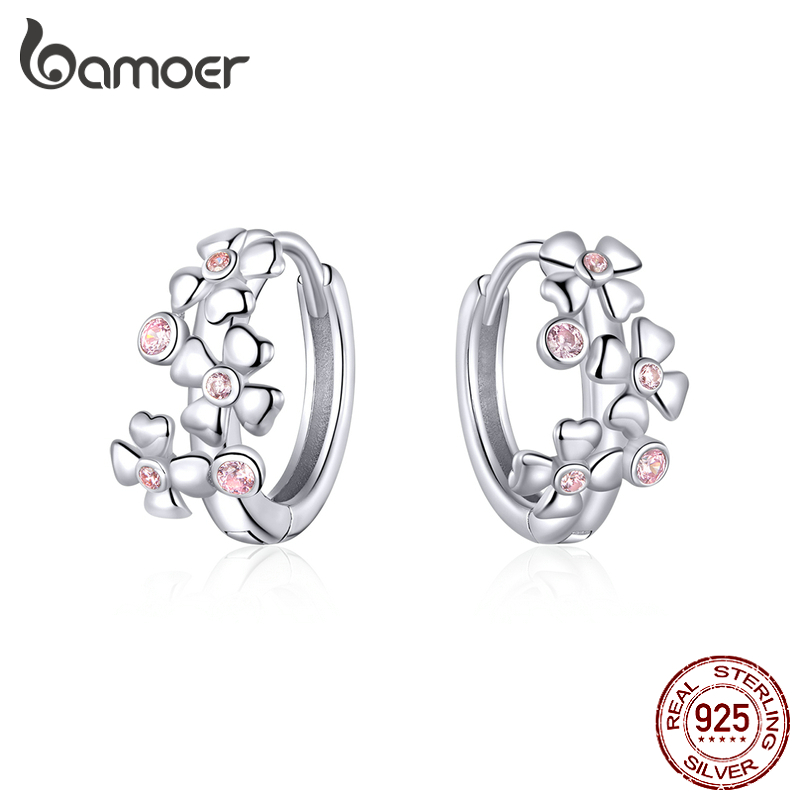Bamoer Sterling Silver 925 Pink Cherry Blossoming Hoop Earrings For Women Valentine Girl Gifts Wedding Statement Jewelry BSE345