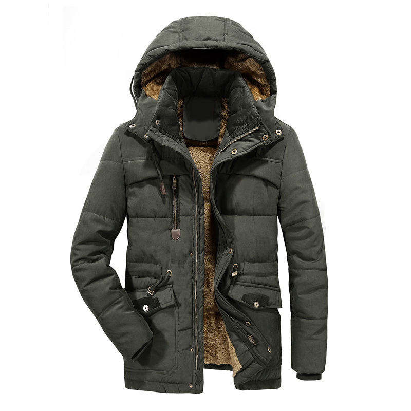 Puimentiua 2019 New Men Winter Jacket Thick Warm   Parka   Fleece Fur Hooded Military Jacket Coat Pockets Windbreaker Jacket Men