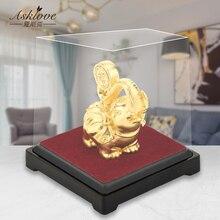Estatua de la suerte de elefante Feng Shui, decoración de 24K de lámina dorada, adorno de oficina, manualidades para coleccionar riqueza, decoración para el hogar y la Oficina