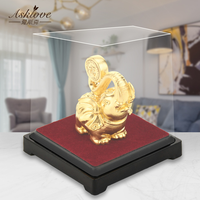 Lucky Elephant Feng Shui decor 24K Gold Foil Elephant Statue Figurine Office Ornament Crafts Collect Wealth Home Office Decor