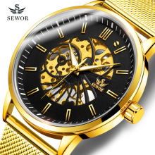SEWOR Luxury Brand Mens 2019 New Fashion Super Thin Mesh Strap Hollowed Gold Manual Mechanical Wrist Watch Men Sport