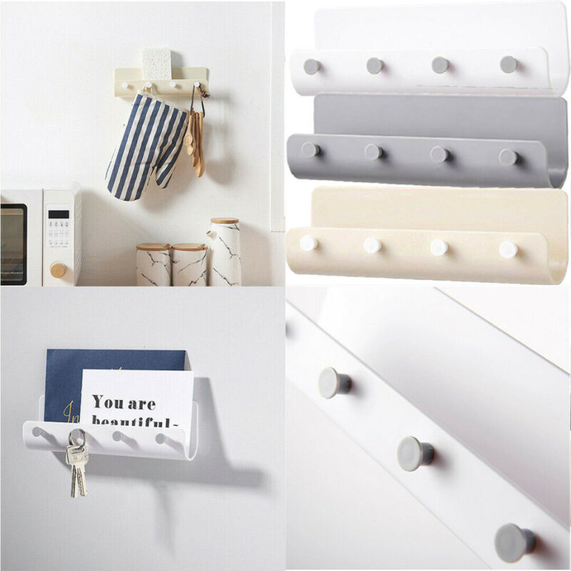4 Hooks Seamless Wall-mounted Nail-free Adhesive Storage Holder Key Hanger Rack Post Organizer Letter Box Mail Door