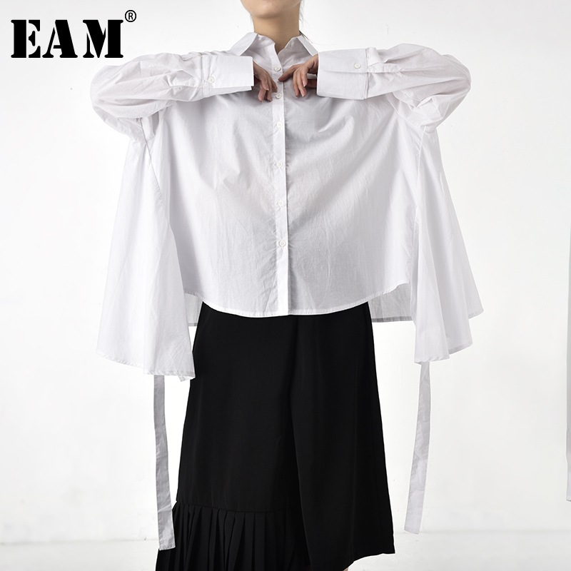 Special Benefits [EAM] Women Ribbon Oversize Asymmetrical Blouse New Lapel Long Sleeve Shirt Fashion Spring Autumn 2020 JO5590