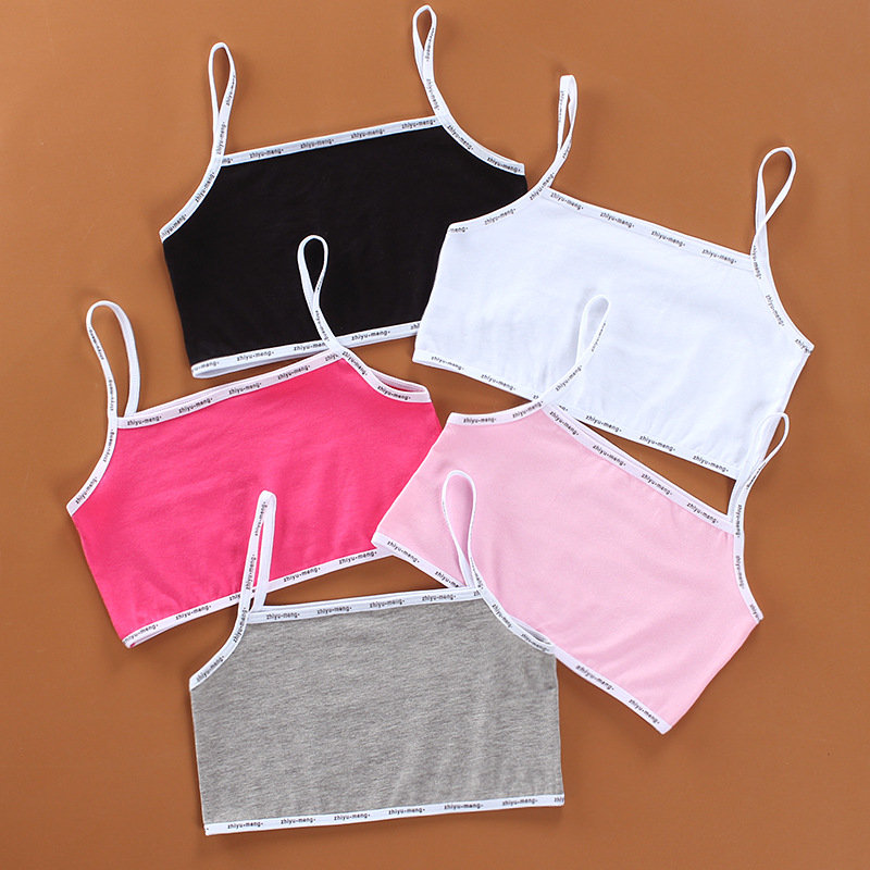 Girls Bra Underwear Lingerie Kids Teens Teenage Young Adolescente 6-12Years Student Cotton Double Deck Solid Color 1pieces Sport