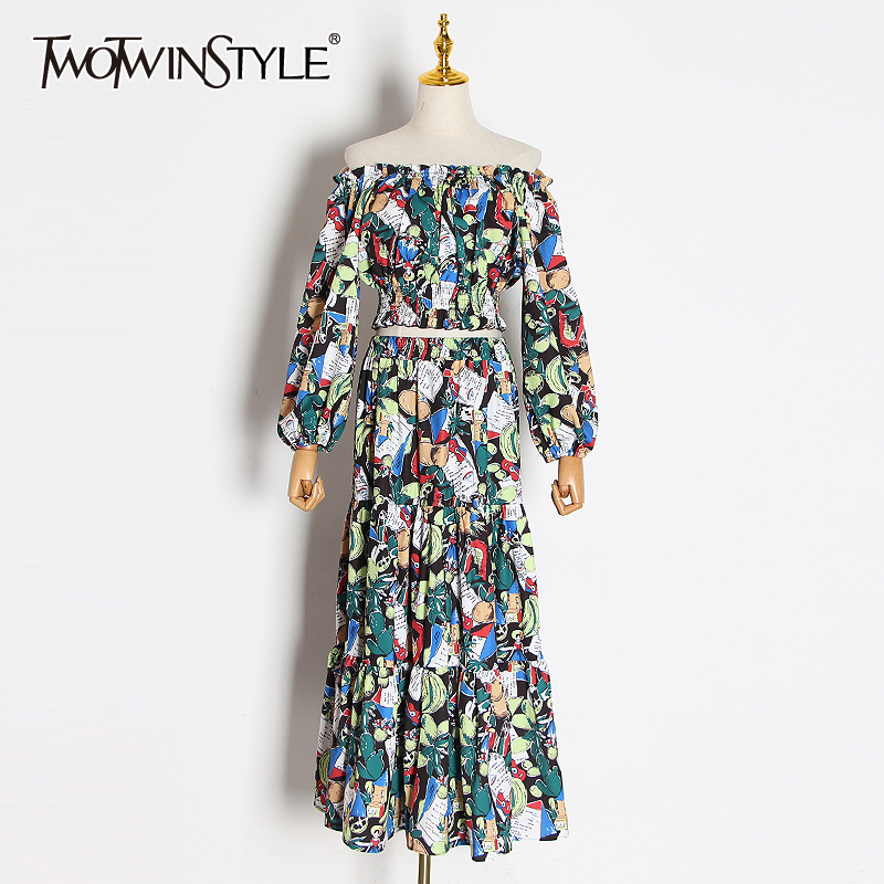 TWOTWINSTYLE Print Hit Color Two Piece Set Women Slash Neck Lantern Sleeve Short Tops High Waist Maxi Skirt Suit Female 2020 New