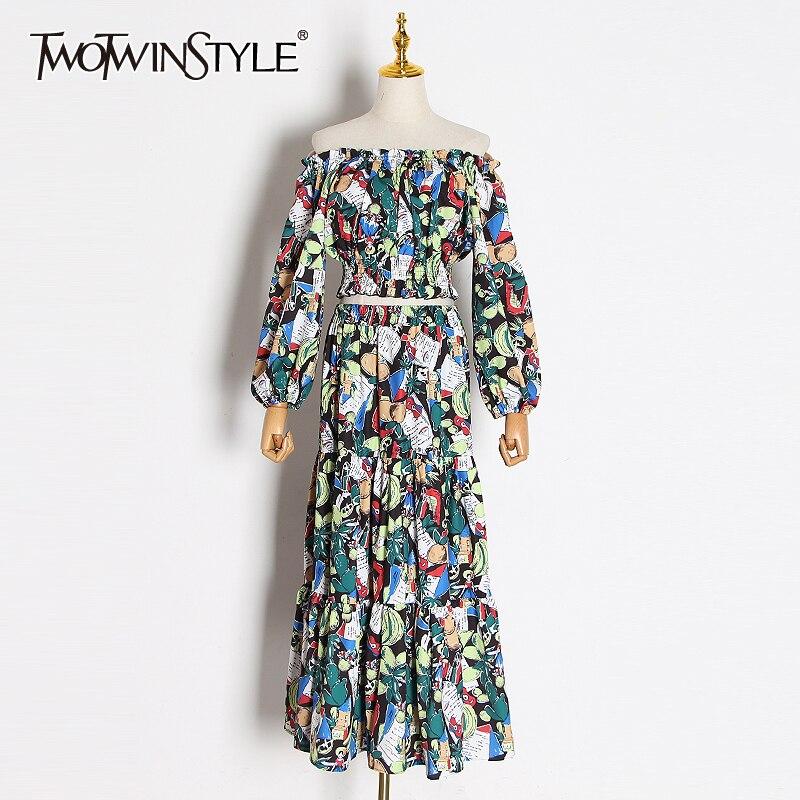 TWOTWINSTYLE Print Hit Color Two Piece Set Women Slash Neck Lantern Sleeve Short Tops High Waist Maxi Skirt Suit Female 2020 New