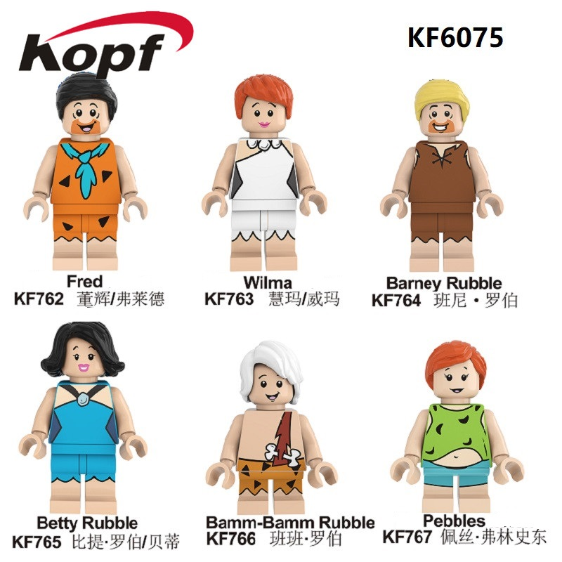 Single Sale Building Blocks Cartoon Character Fred Wilma Barney Rubble Betty Rubble Figures For Children Model Toys Gift KF6075