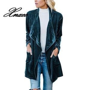 Image 2 - Xnxee Langarm Retro Samt Blazer Jacke Frau Drapierte Vorne Offen Damen Elegante Lange Stil Blazer Frühling Auutumn