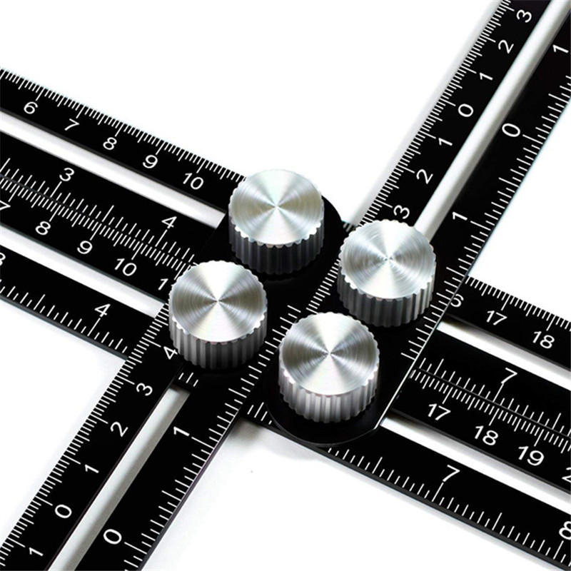 Aluminum Alloy Four Corners Activities Folding Drawing Ruler Multi Angle Drawing Ruler Office Multifunctional Feet Hardware|Gauges| |  - title=