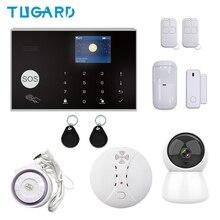 цена на Tuya 433MHz Wireless/Wired WIFI GSM Alarm Set Home Burglar&Security Alarm System With IP Camera/Smoke Detector DIY Alarm