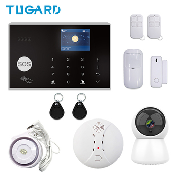 Tuya 433MHz Wireless/Wired WIFI GSM Alarm Set Home Burglar&Security Alarm System With IP Camera/Smoke Detector DIY Alarm diysecur wireless and wired gsm automatic dialing alarm system m2bx pet friendly home security