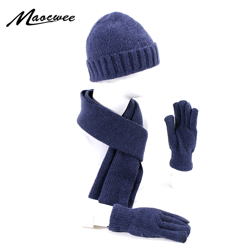 Men Women Scarf Hat Gloves Set Three-Piece Winter Warm Set Outdoor Thick Hats Scarves Men Unisex Skullies Beanies Knitted Cap