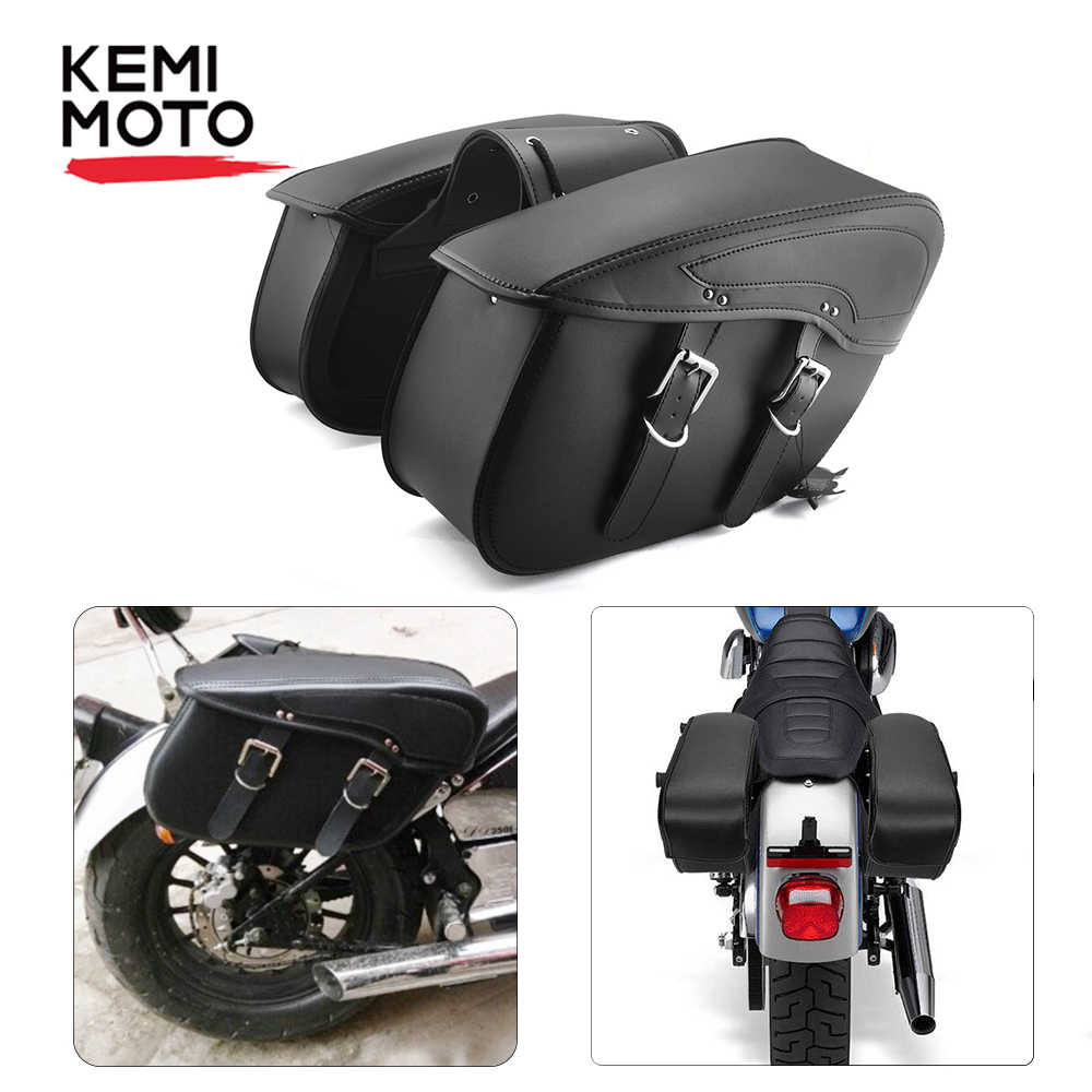 Waterproof Cruiser Motorcycle Saddlebag Leather Side Luggage Bag For Sportster For Honda shadow For Vulcan 2006 For Yamaha Vstar image