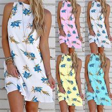 Casual Print Backlee Sleeveless Turtleneck Tank Mini Dress Women 2021 New Arrival Summer Sexy Floral Plus Size Sundresses Women
