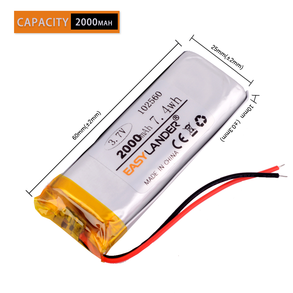 <font><b>3.7V</b></font> <font><b>1800mAh</b></font> 102560 Lithium Polymer Rechargeable <font><b>Battery</b></font> Accumulator Li ion lipo cell For E-book power bank DIY Tablet PC image