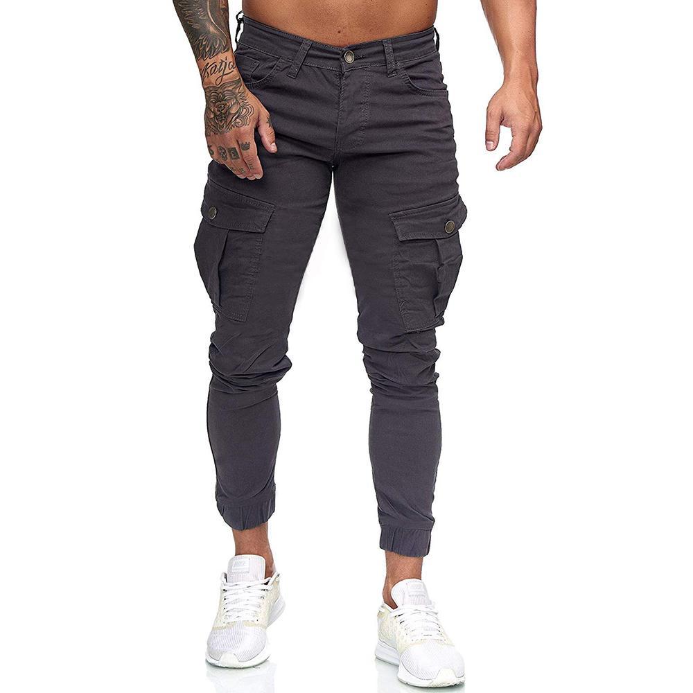 Cargo Pants For Men Stick Pocket Stitching Solid Color Men's Casual Trousers Harem Pants Men White Black