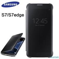 100% Оригинальный чехол для samsung Galaxy S7 G930F, прозрачный зеркальный смарт-чехол, умный защитный флип-чехол для телефона
